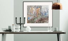 Gemälde auf farbigen Wänden