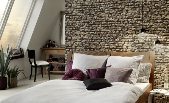 Vinyl Tapeten Auf Raufaser : Wallpaper That Looks Like Stone Walls for Bedroom