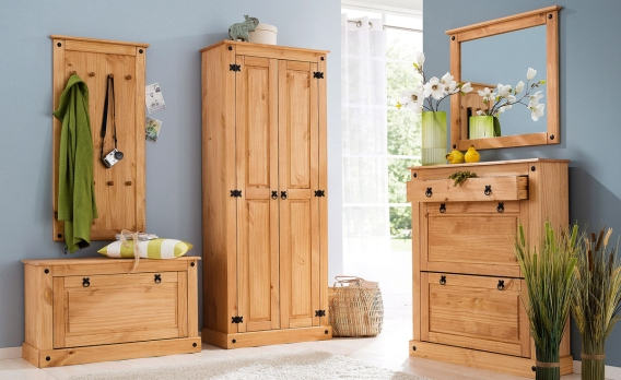 Holz Landhaus Garderobe In Vintage Optik Shabby Chic Flur Design ...