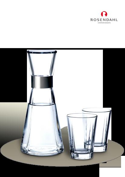 Eine Wasserkaraffe mit zwei Wassergläser von Rosendahl