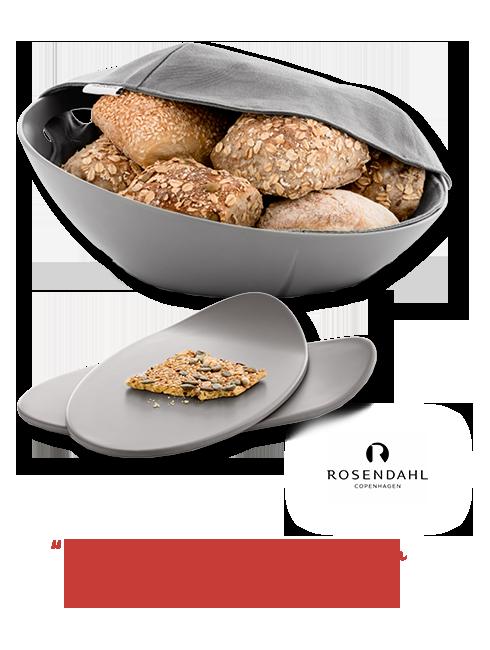 einen Brotkorb und zwei Frühstücksbrettchen Grand Cru von Rosendahl